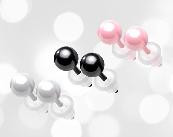 Ceramic Earrings 4mm,  Pink Ball Studs, White Studs, Black Ball Earrings, Non Metal Hypoallergenic Starter Stud Earrings