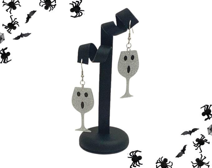Ghost Earrings, Here for the Boos Halloween Party Earrings, Boozy Ghost Glitter Acrylic Wine Glass Dangle Earrings