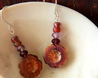 Purple earrings, flower earrings, silver earrings, sterling silver earrings, boho earrings, pink, lilac