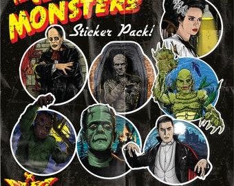 Classic Monsters Sticker Pack (frankenstein wolf man phantom of the opera creature from the black lagoondracula the mummy universal lugosi)