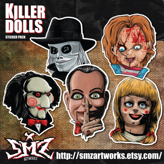 Killer Dolls Sticker Pack Horror Stickers Pack Chucky Childs Etsy