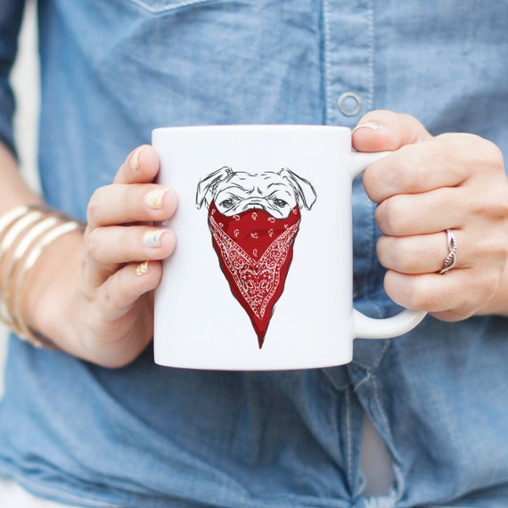 Red Bandit English Bulldog Mug - Gangster Dog, Funny Gift, Dog Bandana, Cute Holiday Gift, Dog Lover Gift, Gifts for Him, Husband Gift