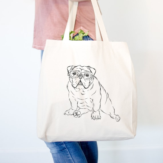 Oliver Nerd English Bulldog Tote Bag - English Bulldog Gift, Funny Gift, Cute Holiday Gift, Dog Lover Gift, Gifts for Him, Husband Gift