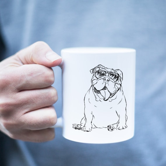 Mr. Too Cool English Bulldog Mug - English Bulldog Gift, Funny Gift, Cute Holiday Gift, Dog Lover Gift, Gifts for Him, Husband Gift