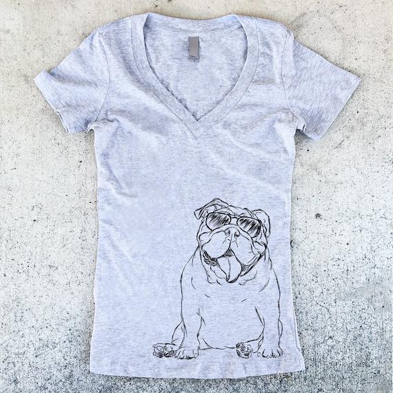 Too Cool English Bulldog Women's V- Neck T-shirt - 3 Color Options - Dog Owner Gift, Dog Lover, English Shirt, English Bulldog Shirt