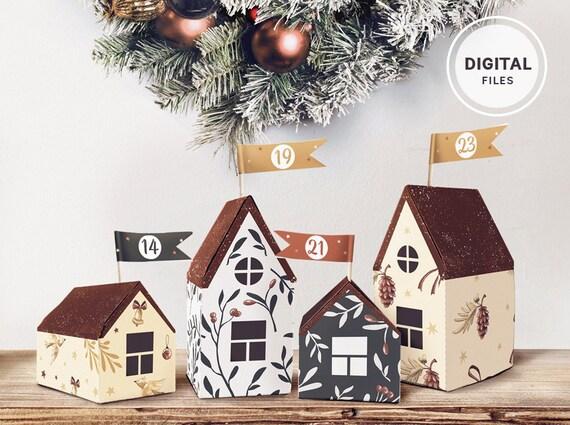 Druckbare Adventskalender Weihnachten Häuschen Countdown | Etsy