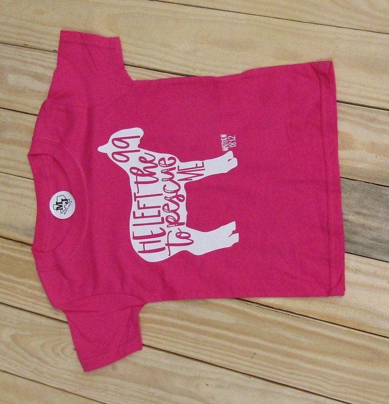 Toddler Easter Sunday Girl/'s Tshirt Cute Easter 2021 SALE Pink Girls Easter Shirt Lamb Sheep He Left the 99 to Rescue Me Easter Shirt