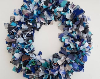 Tie Dye Recycled Cotton Rag Wreath / Christmas / Door / Decor / Home / Hand  Dyed / Recycled / Gift / Present / One Of A Kind / Unique