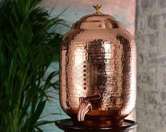 8L Pure Copper Water Dispenser with precious gemstones set in pure silver.