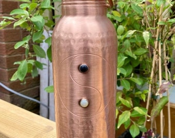 Ayurveda Wellness Yin Yang Pure Copper Bottle, 2 Crystals Set in Pure Silver. Meditation Aid to Re-balance Yourself MATTE FINISH
