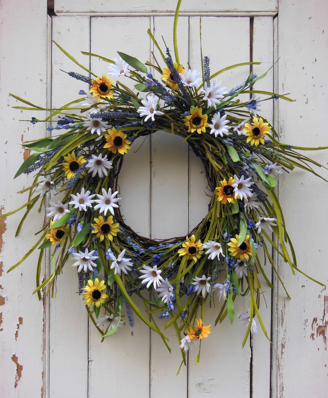 Wreaths, Front Door Wreaths, Spring Door Wreath, Spring Wreath, Summer  Wreaths, Daisy Wreath, Summer Door Wreath, Housewarming, Natural Wrea