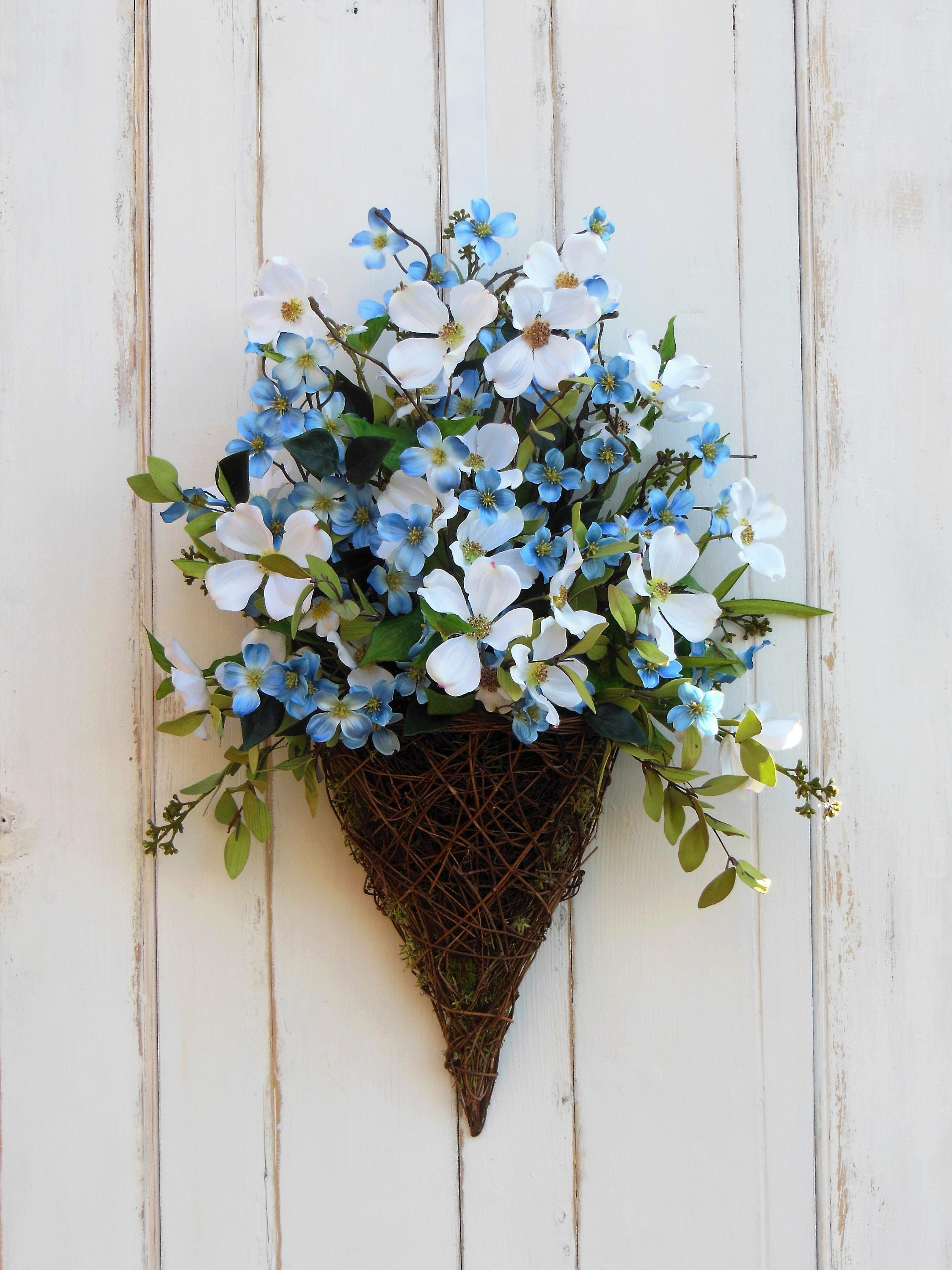 Front door wreath door basket blue flower wreath summer wreath front door wreath door basket blue flower wreath summer wreath all season wreath wreath for summer summer door basket everyday wreath izmirmasajfo