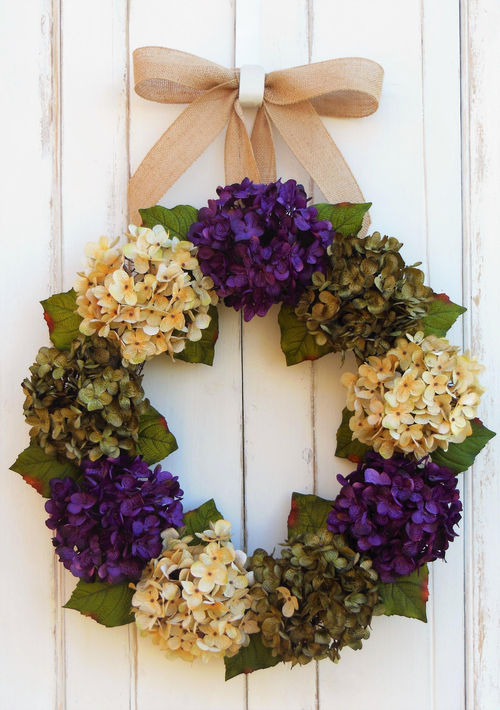 Front Door Wreath, Hydrangea Wreath, Spring Wreath, Hydrangea Door Wreath, Wreaths  Hydrangea, Summer Door Wreath, Purple Hydrangeas,