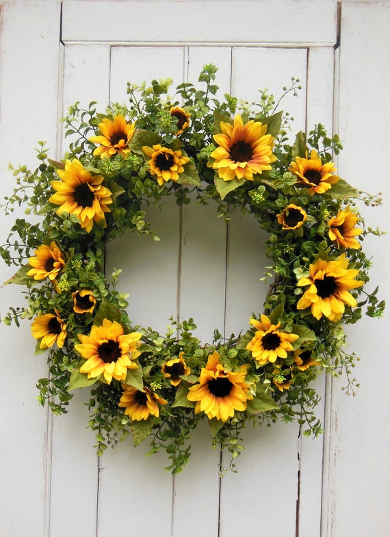 Daisies /& Sunflower Farmhouse Wreath-Sunflower Silk Wreath-Daisy Front Door Wreath-Farmhouse Decor-Black and White Check Farmhouse Wreath