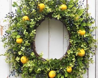 Summer Wreaths, Summer Front Door Wreaths, Lemon Wreath, Blueberry Wreath, Spring Wreath, Citrus Wreath, Summer Door Wreath, Blueberries