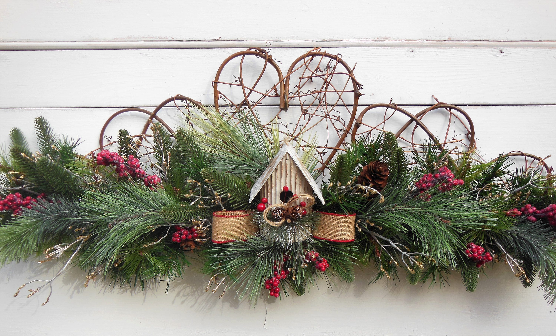CHRISTMAS Wreath, Christmas Swag, Winter Wreath, Winter Swag, Christmas  Fireplace Decor, Fireplace Garland, Red Berry Wreath Swag, Christmas
