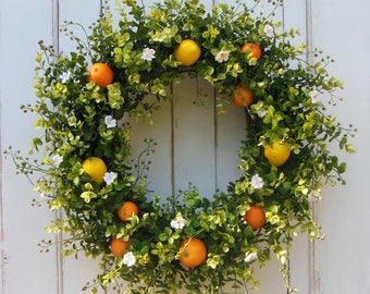 Summer Wreath, Summer Wreath for Front Door, Summer Front Door Wreath, Lemon Wreath, Citrus Wreath, Oranges Wreath, Front Door Wreath,Wreath