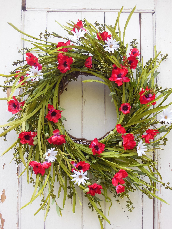 Summer Wreaths, Summer Front Door Wreaths, Daisy Wreath, Spring Wreath, Spring  Door Wreaths, Summer Door Wreath, Red Flower Door Wreath
