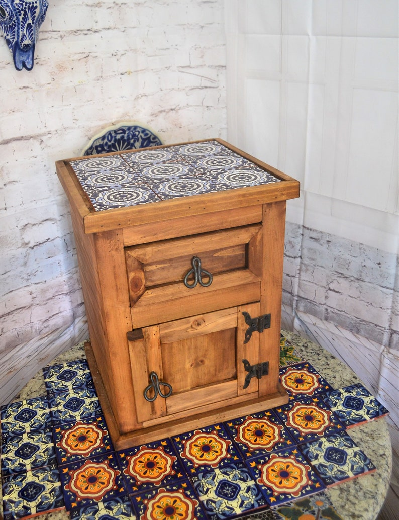Bedside Table Rustic Nightstand Rustic Night Table Talavera Tile Table Coffee Table Sofa Table Small Table Wood Table Cm235