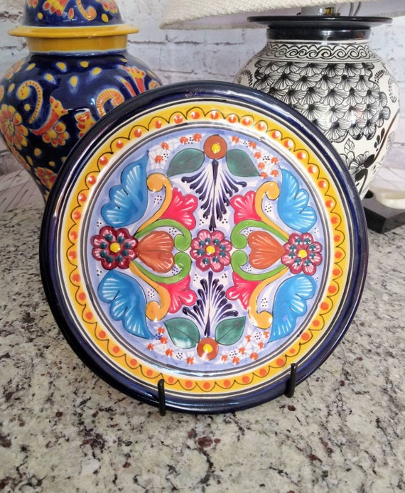 Mexican ovaled Talavera dinner plate appetizer fish plate CM117