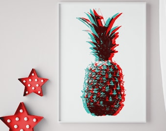 Pineapple Print, Poster, Red and Blue, Kitchen Decor, pineapple Wall Art, 3D Print, Pineapple art, Fruit print, pineapple  anaglyph