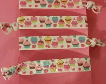 Set of 4 cupcake elastic Hair ties