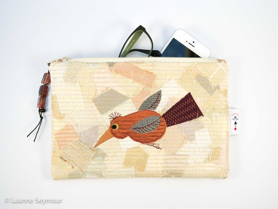 Hand stitched linen zipper pouch patchwork hand quilted bag embroidered bag pencil pouch boho bag linen project bag Kindle sleeve