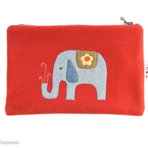wool appliqu\u00e9 Hand stitched wool zipper pouch hand quilted bag boho bag embroidered bag wool project bag pencil pouch Kindle sleeve