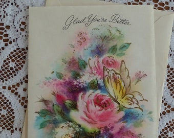 1950s NOS Rose Get Well Greeting Card with Envelope