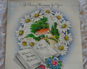 Vintage Get Well Greeting Card, Unused Cheery Message Card with Envelope, Mid Century Greeting, Daisy Wreath Window Card, Made in USA