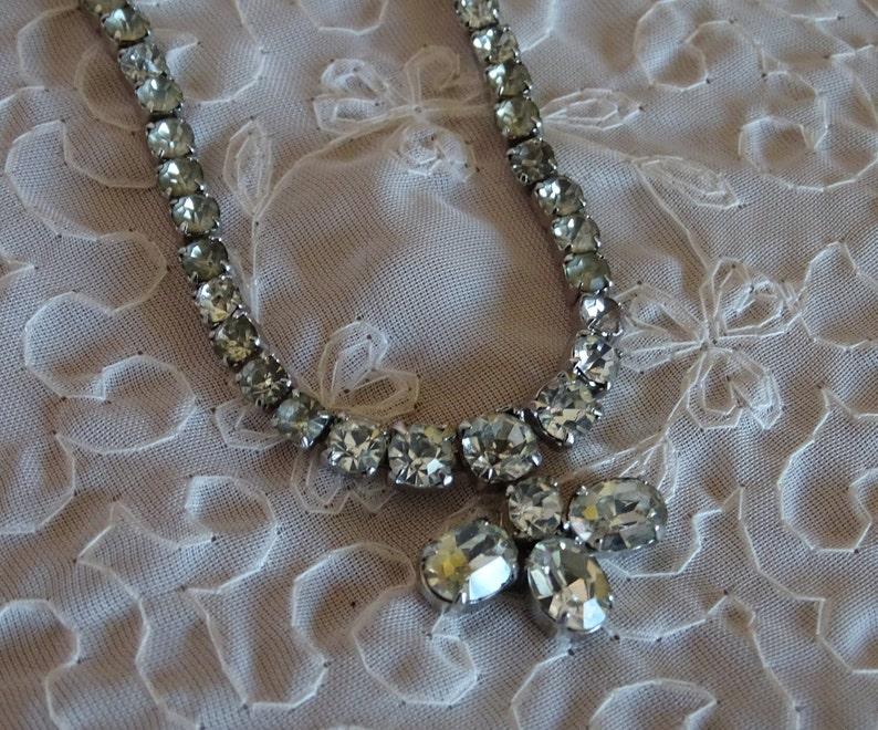 Formal Prom Necklace Sparkly Jewelry Prong Set Stones 15.5 Length Vintage Rhinestone Choker Bridal Wedding Fashion Diamante Necklace