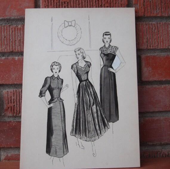 Vintage 1930 Damen Mode Zeichnung Original Weihnachten Etsy