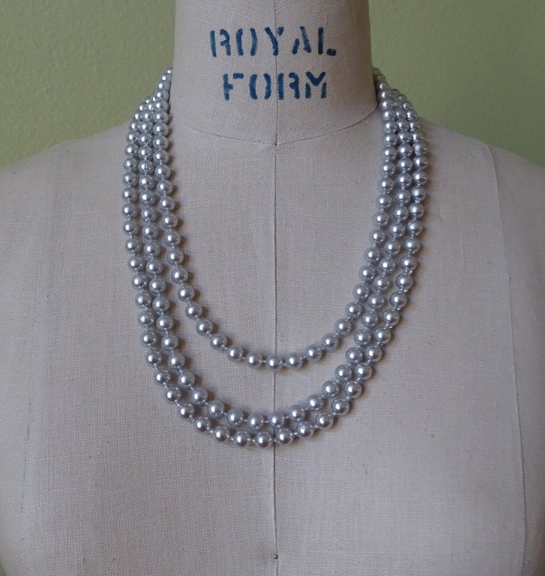 04667b9c4212e Vintage Gray Pearl Necklace, Triple Strand Faux Pearls, Grey Pearlized  Beaded Necklace, Mid Century Ladies Fashion, Pretty Wedding Jewelry