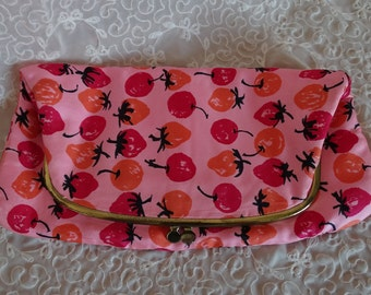 Vintage Ingber Fold Over Handbag with Fruit Design, Early 60's Strawberry and Cherry Fabric Clutch, Mid Century Fashion,  Ingber Made in USA