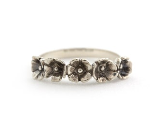 Blooming Five Flower Ring in Sterling Silver