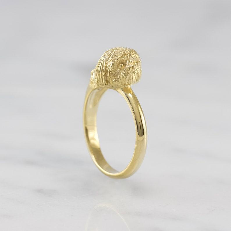 Dog Ring Dog Jewelry Shih Tzu Ring Hand-Carved 18k Gold Vermeil