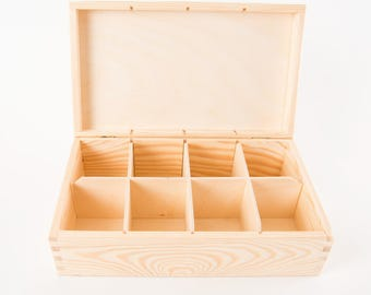 Compartment boxes,  Tea box,  plain pine wood,  hinged lid, removable sections, various sizes