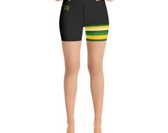 Green Bay Fade Left Leg Yoga Shorts