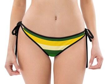 Green Bay Striped Reversible Bikini Bottom