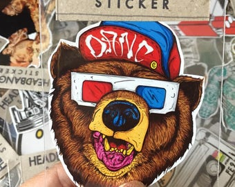 93f12cb18fde Bear in 3D Glasses Hipster Indy Cool Graphic Art Waterproof Vinyl Decal  Sticker