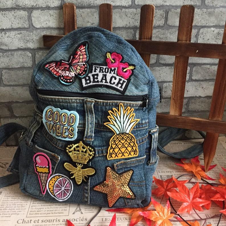 388c35ab74 Upcycled Handmade DIY Denim Jeans School Mini Backpack Cute