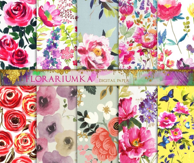 Pink Watercolor Flowers Digital Paper Watercolor Floral Etsy