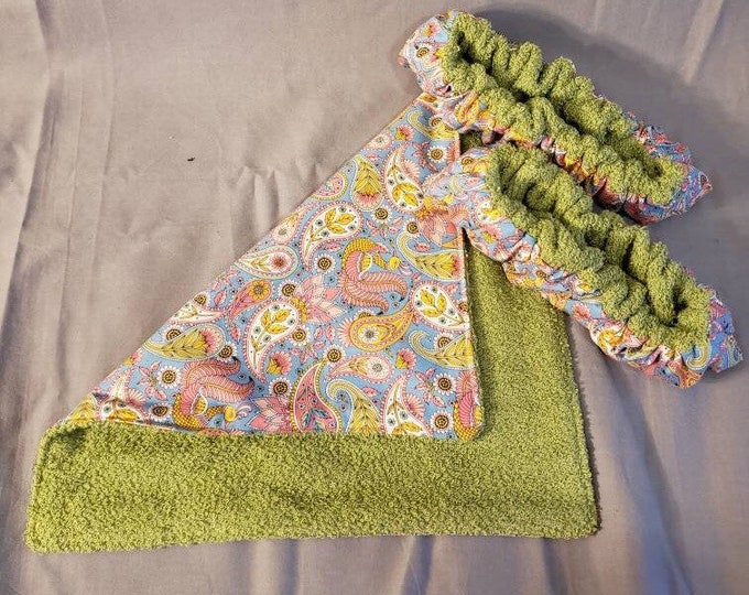 Pink Blue Green Paisley Ice Skate Soakers and Terry Cloth Towel set