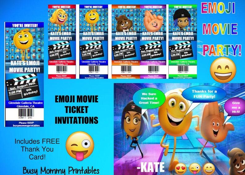 Emoji Movie Inspired Party Invitations Ticket