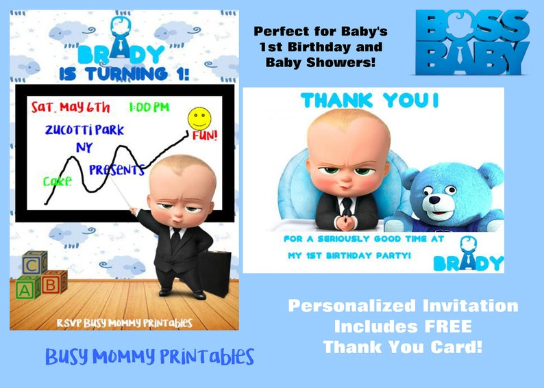 Boss Baby Inspired Personalized Invitation With FREE Thank You Card Digital 1st Birthday Shower