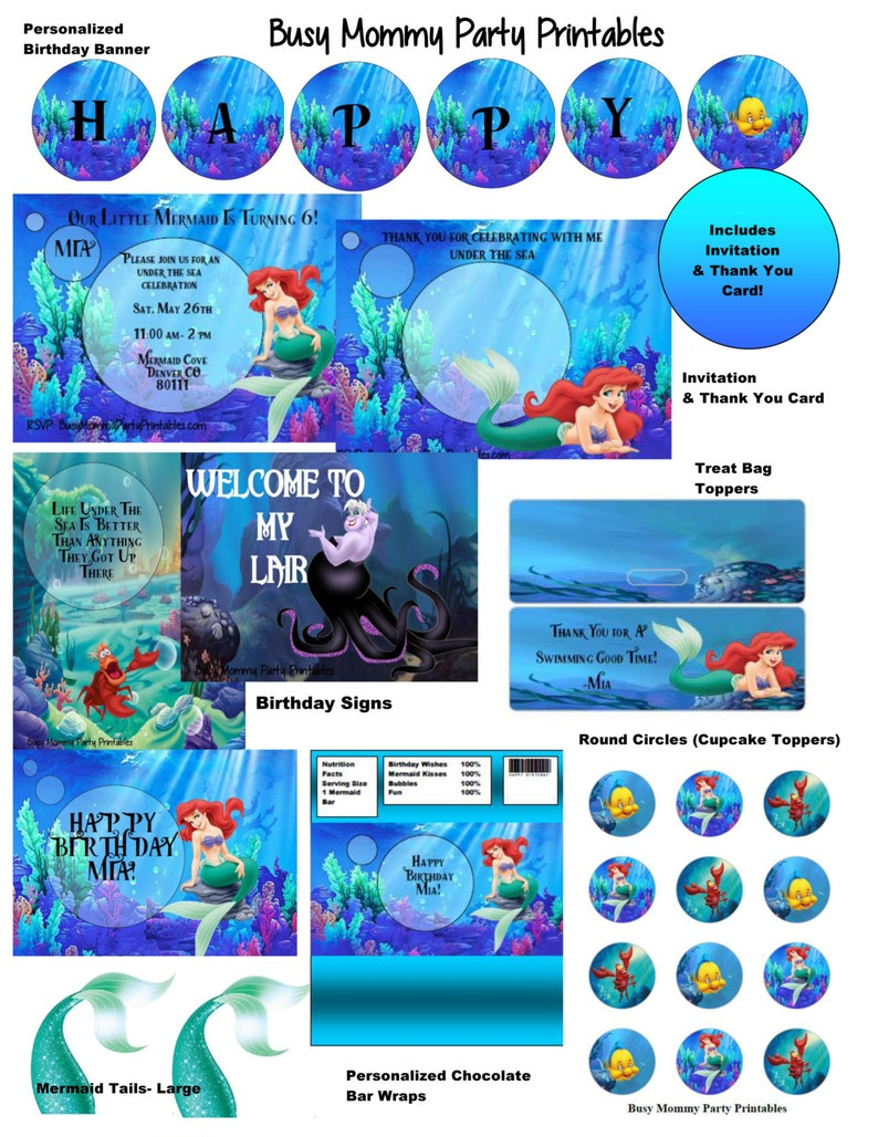 Little Mermaid Ariel Party Package Printables Huge Digital With Invitatioin Thank You Card FREE Personalization