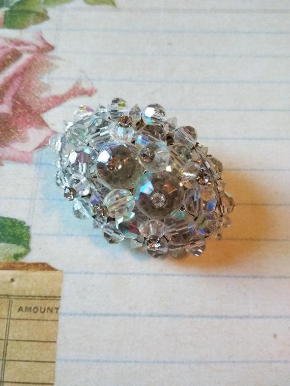 Crystal Retro Rhinestone brooch pin fashion accessory mid century bridal jewelry