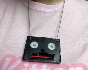 Upcycled DV casette necklaces