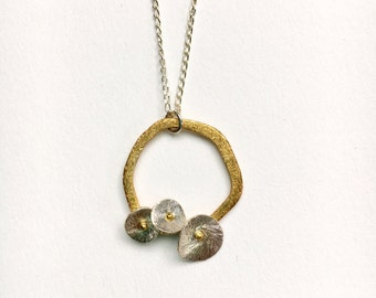 24K gold Vermeil pendant necklace / sterling silver chain / brushed silver disk
