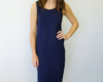 Navy Singlet Dress in Mid Weight Jersey